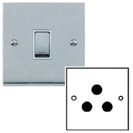 1 Gang 5A Unswitched 3 Pin Socket in Satin Chrome Low Profile Plate and White Trim, Richmond Elite