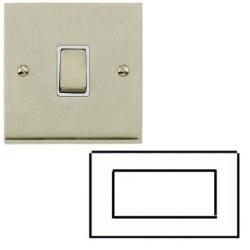 4 Module Euro Cover Plate Low Profile Satin Nickel White Insert Heritage Brass Elite