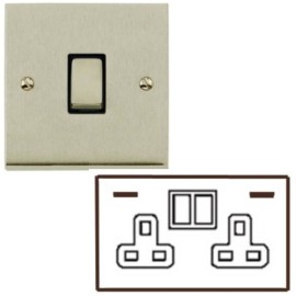 2 Gang 13A Socket with 2 USB Sockets Low Profile Satin Nickel Plate and Rockers with Black Plastic Insert Richmond Elite