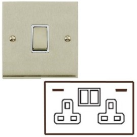 2 Gang 13A Socket with 2 USB Sockets Low Profile Satin Nickel Plate and Rockers with White Plastic Insert Richmond Elite