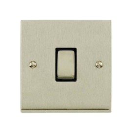 1 Gang 2 Way 10A Switch in Satin Nickel Low Profile Plate and Black Trim, Richmond Elite