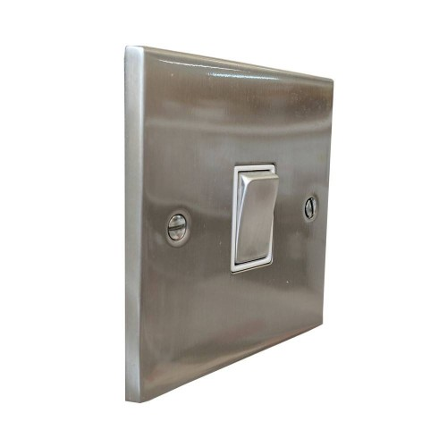1 Gang 2 Way 10A Switch in Satin Nickel Low Profile Plate and White Trim, Richmond Elite