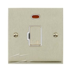 1 Gang 20A DP Switch with Neon Indicator in Satin Nickel Low Profile Plate with White Trim, Richmond Elite