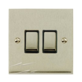 2 Gang 2 Way 10A Switch in Satin Nickel Low Profile Plate and Black Trim, Richmond Elite