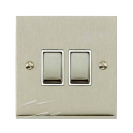 2 Gang 2 Way 10A Switch in Satin Nickel Low Profile Plate and White Trim, Richmond Elite