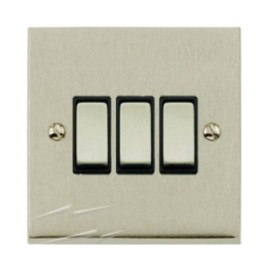 3 Gang 2 Way 10A Switch in Satin Nickel Low Profile Plate and Black Trim, Richmond Elite