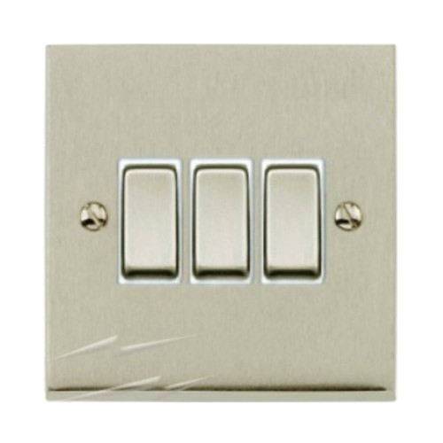 3 Gang 2 Way 10A Switch in Satin Nickel Low Profile Plate and White Trim, Richmond Elite