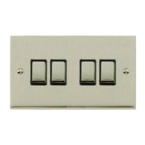 4 Gang 2 Way 10A Switch in Satin Nickel Low Profile Plate and Black Trim, Richmond Elite