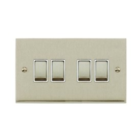 4 Gang 2 Way 10A Switch in Satin Nickel Low Profile Plate and White Trim, Richmond Elite