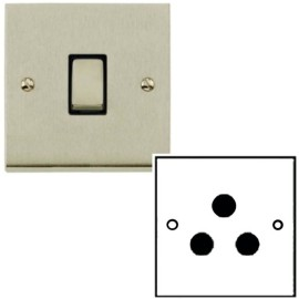 1 Gang 5A Unswitched 3 Pin Socket in Satin Nickel Low Profile Plate and Black Trim, Richmond Elite