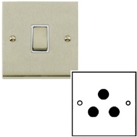 1 Gang 5A Unswitched 3 Pin Socket in Satin Nickel Low Profile Plate and White Trim, Richmond Elite
