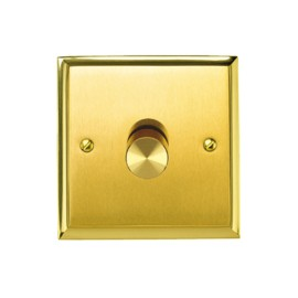 1 Gang 2 Way 400W Push On/Off Dimmer Mayfair Dual Finish Satin Brass Raised Plate / Polished Brass Edge