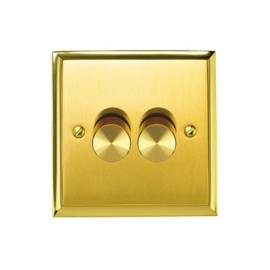 2 Gang 2 Way 400W Push On/Off Dimmer Mayfair Dual Finish Satin Brass Raised Plate / Polished Brass Edge