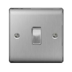 1 Gang 2 Way 10AX Switch in Brushed Steel, Single Rocker Switch BG Nexus Metal Raised Plate