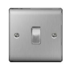 1 Gang Intermediate 10AX Switch in Brushed Steel, Single Rocker Switch BG Nexus Metal Raised Plate