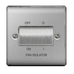 1 Gang 3 Pole Fan Isolator Switch in Brushed Steel Plate and Switch, BG Nexus Metal Raised Plate
