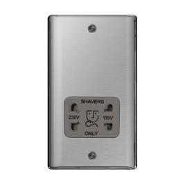 Dual Voltage 115/230V Shaver Socket in Brushed Steel BG Nexus Metal Raised Plate