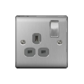 1 Gang 13A Double Pole Switched Single Socket in Brushed Steel BG Nexus Metal Raised Plate