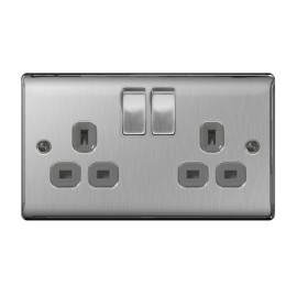 2 Gang 13A Double Pole Switched Twin Socket in Brushed Steel BG Nexus Metal Raised Plate