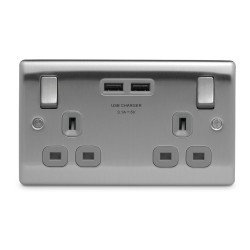2 Gang 13A Switched Socket with 2 USB Sockets (3.1A 5V) Brushed Steel Grey Trim Slim Profile BG Nexus NBS22U3G