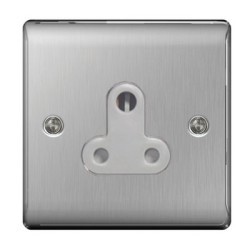 1 Gang 5A Unswitched Round Pin Socket in Brushed Steel BG Nexus Metal Raised Plate