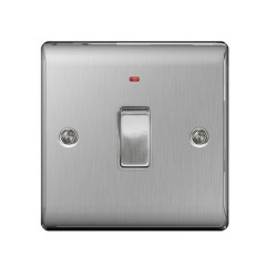 1 Gang Double Pole Switch with Neon, 20A DP Switch Brushed Steel BG Nexus Metal Raised Plate