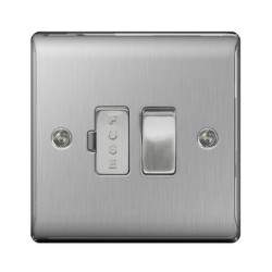 1 Gang 13A Switched Fused Connection Unit (Spur) in Brushed Steel BG Nexus Metal Raised Plate