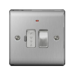 1 Gang 13A Switched Spur with Neon in Brushed Steel, Fused Connection Unit Metal Raised Plate BG Nexus