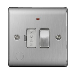 1 Gang 13A Switched Spur with Neon and Cable Outlet in Brushed Steel BG Nexus Metal Raised Plate