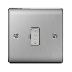 1 Gang 13A Unswitched Fused Connection Unit in Brushed Steel BG Nexus Metal Raised Plate
