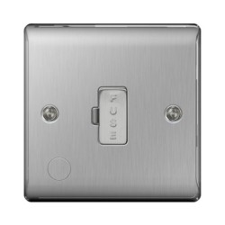 1 Gang 13A Unswitched Fused Connection Unit with Cable Outlet in Brushed Steel BG Nexus Metal Raised Plate