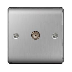 1 Gang Coax Socket in Brushed Steel, Single Coaxial Socket BG Nexus Metal Raised Plate