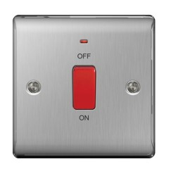 1 Gang 45A Cooker Control Unit DP Switch with Neon (single plate) Brushed Steel Raised Plate