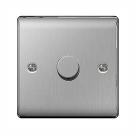 1 Gang 2 Way Rotary Dimmer 50-400W Halogen / 5-50W LED Dimming Brushed Steel BG Nexus Metal Raised Plate