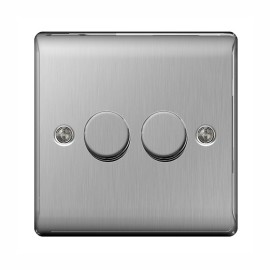 2 Gang 2 Way Rotary Dimmer 50-400W Halogen / 5-50W LED Dimming Brushed Steel BG Nexus NBS82P Raised Plate