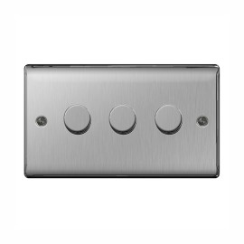 3 Gang 2 Way Rotary Dimmer 50-400W Halogen / 5-50W LED Dimming Brushed Steel BG Nexus NBS83P Raised Plate