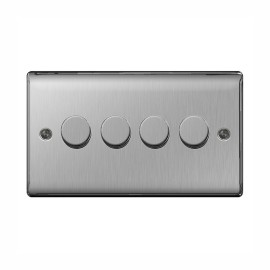 4 Gang 2 Way Rotary Dimmer 50-400W Halogen / 5-50W LED Dimming Brushed Steel BG Nexus NBS84P Raised Plate