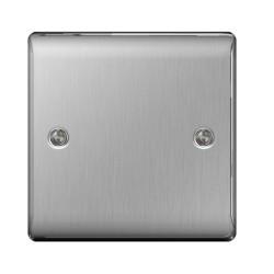1 Gang Blank Plate Single Blanking Plate in Brushed Steel BG Nexus Metal Raised Plate