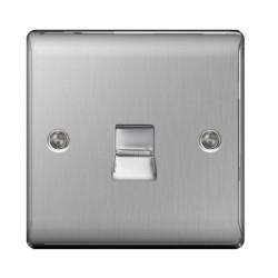 1 Gang Single Telephone Master Socket in Brushed Steel BG Nexus Metal Raised Plate
