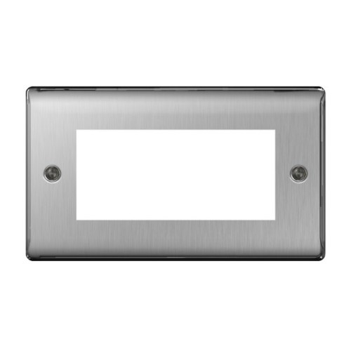 2 Gang Front Plate for 4 Euro Module in Brushed Steel Metal Raised Plate
