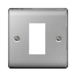 BG Nexus 1 Module Euro Front Plate in Brushed Steel Metal Raised Plate