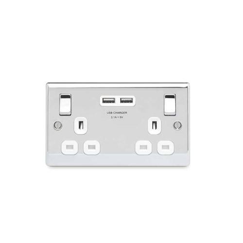 2 Gang 13A Switched Socket with 2 USB Sockets (3.1A 5V) Polished Chrome with White Trim Slim Profile BG Nexus NPC22U3W