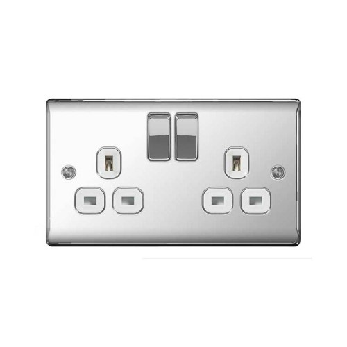2 Gang 13A Double Pole Switched Socket in Polished Chrome with White Trim Raised Plate, BG Nexus NPC22W