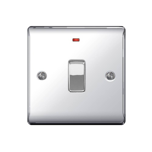 1 Gang 20A Double Pole Switch with Neon Indicator in Polished Chrome Raised Plate, BG Nexus NPC31