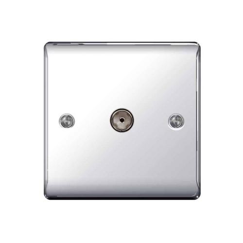 1 Gang Co-axial Socket Outlet Polished Chrome Raised Plate BG Nexus Metal NPC60 Coax Socket