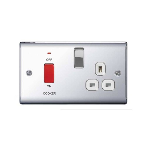 45A Red Rocker Cooker Switch with Neon Indicator and Switched 13A Socket Polished Chrome Raised Plate White Trim BG Nexus Metal NPC70