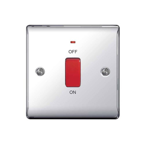 45A DP Cooker Control Unit Red Rocker Switch with Neon Indicator Single Plate Polished Chrome Raised Plate BG Nexus Metal NPC74