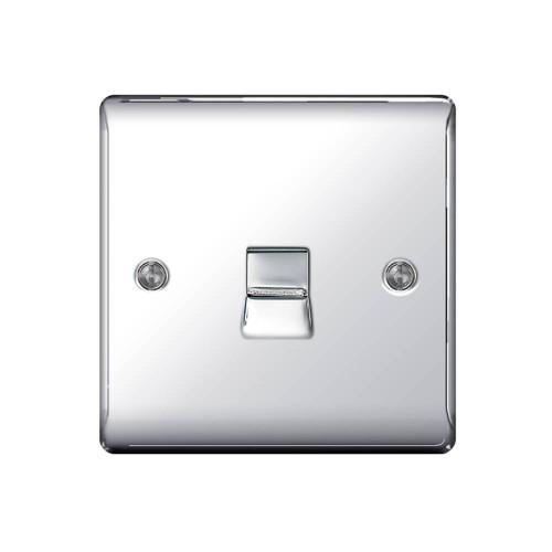 1 Gang Single Telephone Slave Socket in Polished Chrome Raised Plate, BG Nexus Metal NPCBTS1 BT Secondary Socket