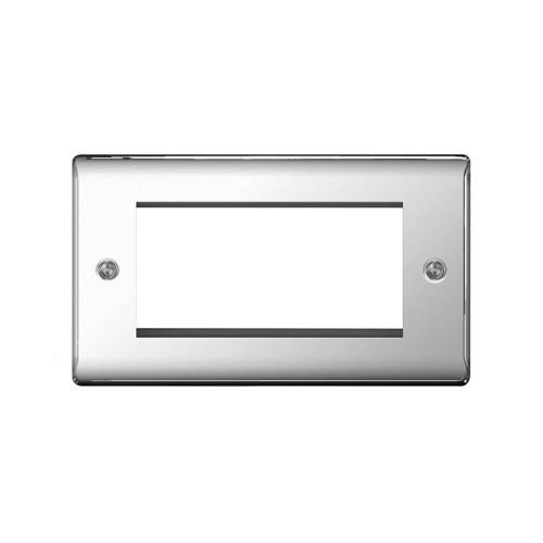 2 Gang Front Plate for 4 Euro Module in Polished Chrome Metal Raised Plate, BG Nexus Metal NPCEMR4
