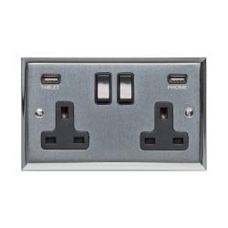 2 Gang 13A Socket with 2 USB Sockets Apollo Dual Finish Satin Chrome Raised Plate with Polished Chrome Stepped Edge Black Trim